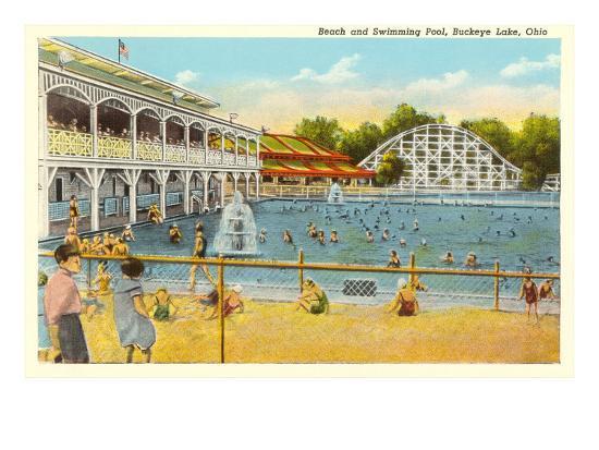 Beach and Pool, Buckeye Lake, Ohio--Art Print