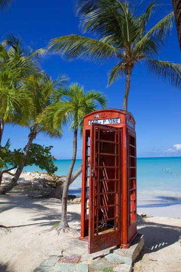 Beach and Red Telephone Box-Frank Fell-Photographic Print