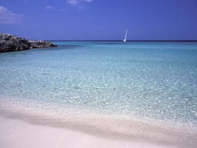 Beach and Sailing Boat, Formentera, Balearic Islands, Spain, Mediterranean, Europe-Vincenzo Lombardo-Photographic Print