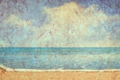Beach And Sea On Paper Texture Background-Gladkov-Art Print