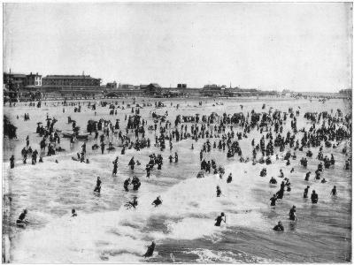 Beach at Atlantic City, New Jersey, USA, Late 19th Century-John L Stoddard-Giclee Print