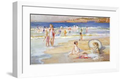 Beach At Biarritz-Paul Michel Dupuy-Framed Premium Giclee Print