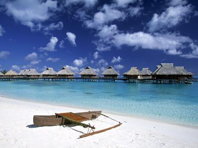Beach at Bora Bora Nui Resort, Bora Bora, French Polynesia-Walter Bibikow-Photographic Print