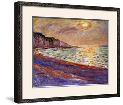 Beach at Pourville, Sunset, 1882-Claude Monet-Framed Giclee Print