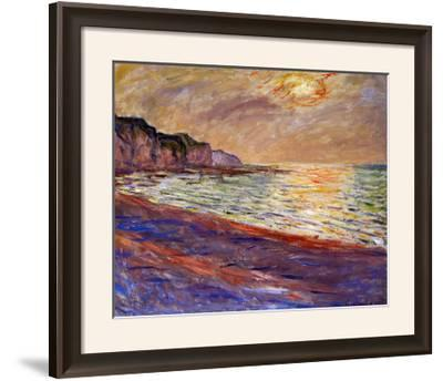 Beach at Pourville, Sunset, 1882-Claude Monet-Framed Giclee Print