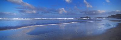 Beach at Sunrise, Gwithian Beach, Godrevy Lighthouse, Cornwall, England--Photographic Print