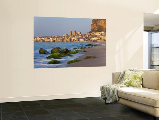 Beach at Sunset, Cefalu, North Coast, Sicily-Peter Adams-Wall Mural