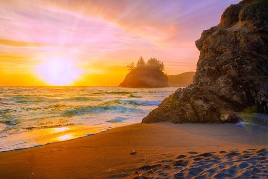 Beach at Sunset-Lantern Press-Art Print