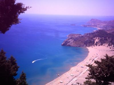Beach at Tsambika from the Monastery, Rhodes, Dodecanese Islands, Greece-Steve Outram-Photographic Print