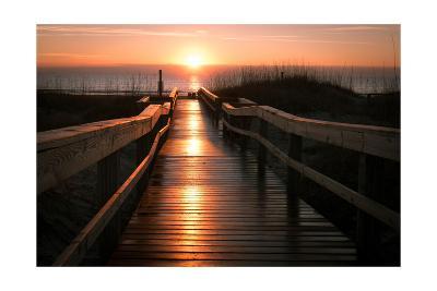 Beach Boardwalk Sunrise-Lantern Press-Art Print