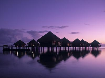 Beach Bungalows, Punaauia, Tahiti, French Polynesia-Walter Bibikow-Photographic Print