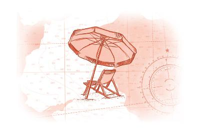 Beach Chair and Umbrella - Coral - Coastal Icon-Lantern Press-Art Print