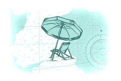 Beach Chair and Umbrella - Teal - Coastal Icon-Lantern Press-Art Print