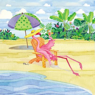Beach Chair Flamingo-Paul Brent-Art Print