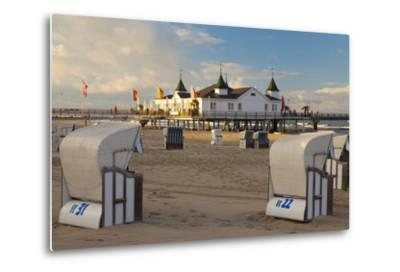 Beach Chairs and the Historic Pier in Ahlbeck on the Island of Usedom-Miles Ertman-Metal Print
