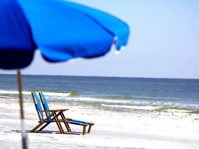 Beach Chairs and Umbrella, Ship Island, Gulf Islands National Seashore, Mississippi-Franklin Viola-Photographic Print