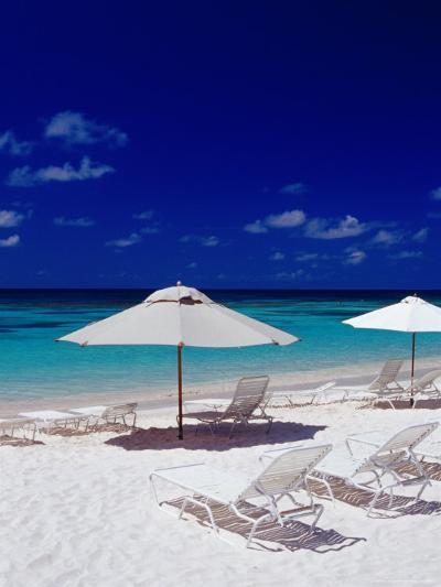 Beach Chairs and Umbrellas on Long Bay Beach-Richard I'Anson-Photographic Print