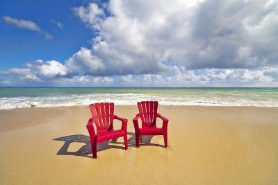 Beach Chairs Beckon on Baldwin Beach on the North Shore of Maui, Hawaii-Ron Dahlquist-Photographic Print