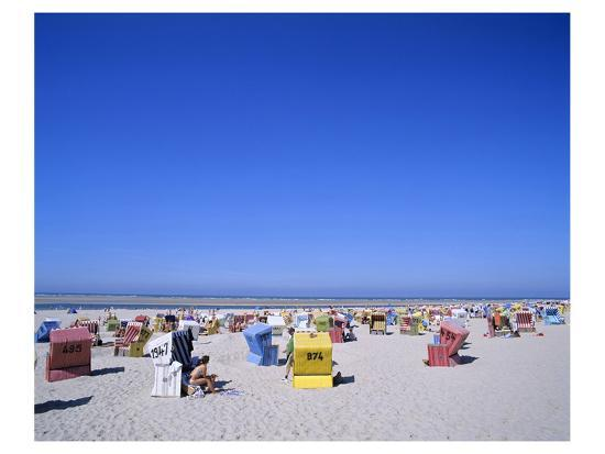 Beach chairs on Nordstrand, Langeoog, East Frisian Islands, Lower Saxony, Germany--Art Print