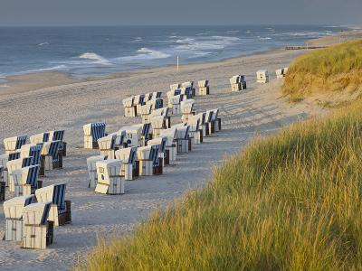 Beach Chairs on the Beach Close Kampen (Municipality), Sylt (Island), Schleswig-Holstein, Germany-Rainer Mirau-Photographic Print