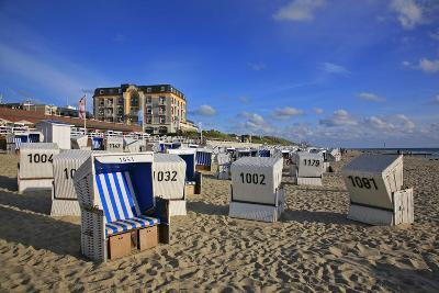 Beach Chairs on the Beach in Front of the 'Hotel Miramar' in Westerland on the Island of Sylt-Uwe Steffens-Photographic Print