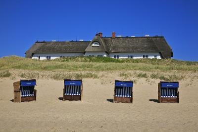 Beach Chairs on the Beach in Front of the 'Soelring-Hof' in Rantum on the Island of Sylt-Uwe Steffens-Photographic Print