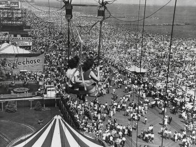 Beach Crowds as Seen from the Parachute Jump at Steeple Park, Coney Island, NY, 1950--Photo