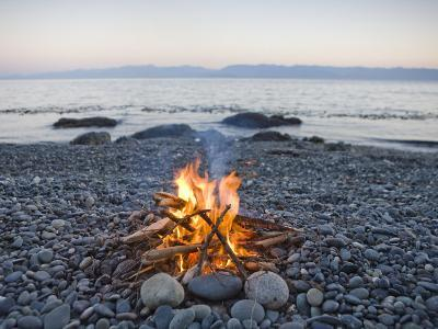 Beach Fire on the Shores of Vancouver Island-Taylor S^ Kennedy-Photographic Print