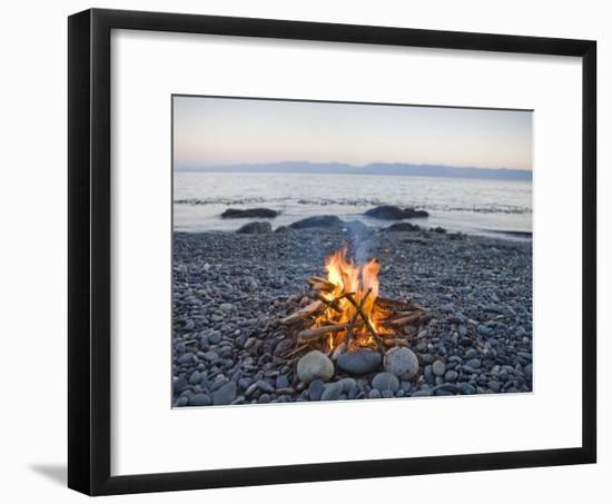 Beach Fire on the Shores of Vancouver Island-Taylor S. Kennedy-Framed Photographic Print