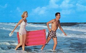 Beach-goers with Raft, Retro