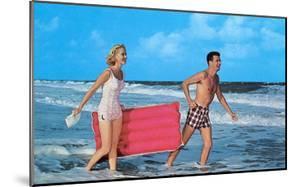 Beach-goers with Raft, Retro