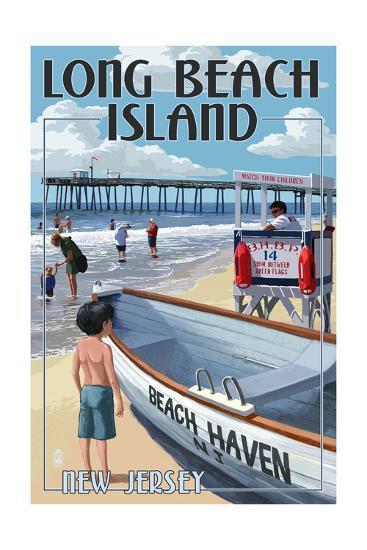 Beach Haven, New Jersey - Lifeguard Stand-Lantern Press-Art Print