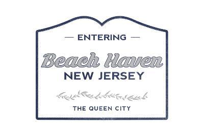 Beach Haven, New Jersey - Now Entering (Blue)-Lantern Press-Art Print