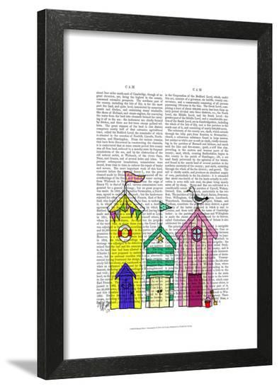 Beach Huts 1 Illustration-Fab Funky-Framed Art Print