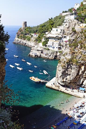 Beach in a Cove, Praiano, Amalfi Coast, Italy-George Oze-Photographic Print