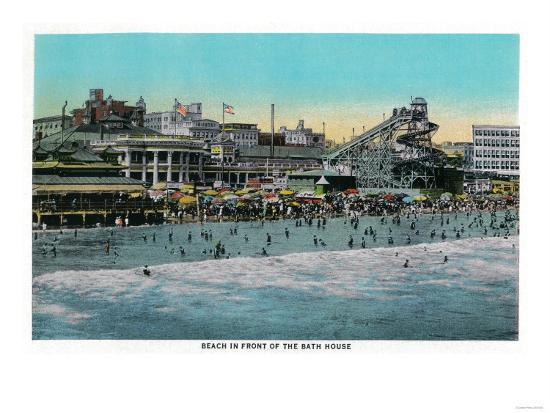 Beach in front of the Bath House, Long Beach - Long Beach, CA-Lantern Press-Art Print
