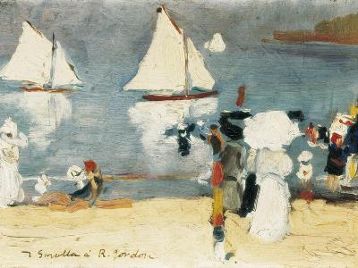Beach in La Concha Bay in San Sebasti?n-Joaqu?n Sorolla y Bastida-Art Print