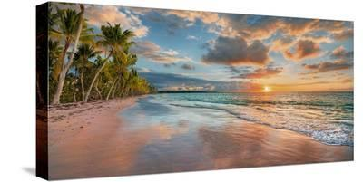 Beach in Maui, Hawaii, at sunset-Pangea Images-Stretched Canvas Print