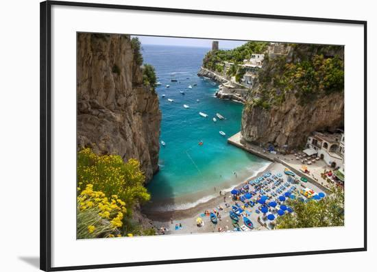 Beach in the Rocky Coastline of Amalfi Near Praiano, Campania, Italy-Brian Jannsen-Framed Photographic Print