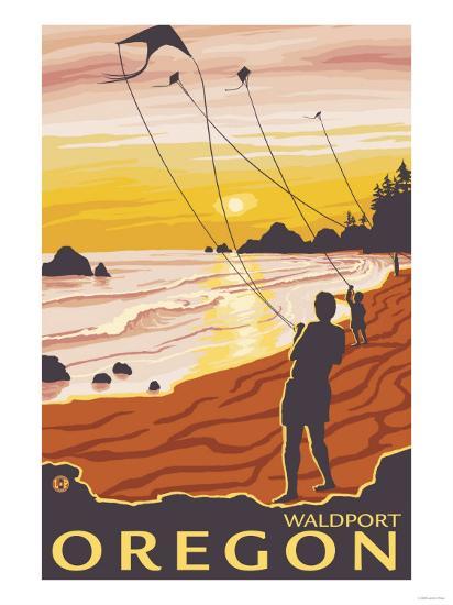 Beach & Kites, Waldport, Oregon-Lantern Press-Art Print