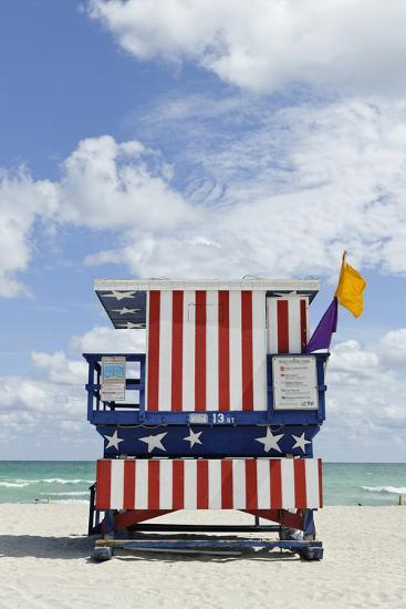 Beach Lifeguard Tower '13 St', with Paint in Style of the Us Flag, Miami South Beach-Axel Schmies-Photographic Print