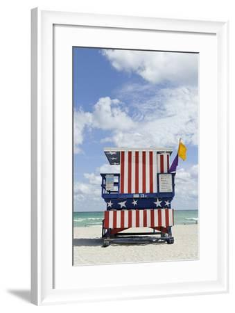 Beach Lifeguard Tower '13 St', with Paint in Style of the Us Flag, Miami South Beach-Axel Schmies-Framed Photographic Print