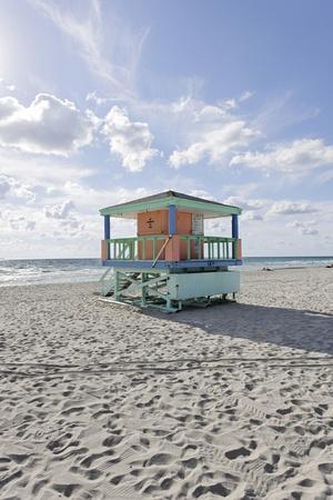 Beach Lifeguard Tower '14 St', Typical Art Deco Design, Miami South Beach-Axel Schmies-Photographic Print