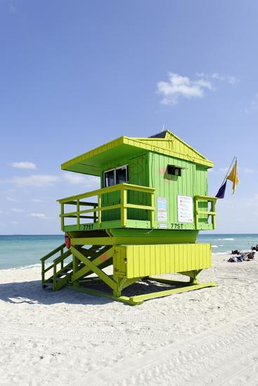 Beach Lifeguard Tower '77 St', Atlantic Ocean, Miami South Beach, Florida, Usa-Axel Schmies-Photographic Print