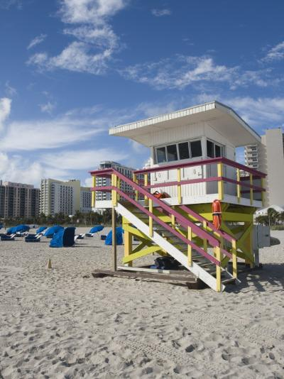 Beach Lifeguard Tower, South Beach, Miami, Florida-Walter Bibikow-Photographic Print