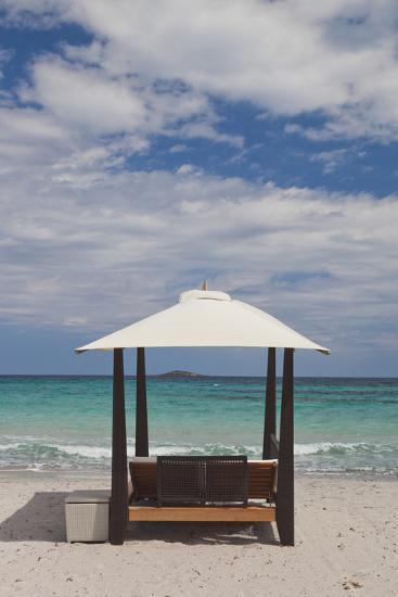 Beach Lounge Chairs, Porto Vecchio, Corsica, France-Walter Bibikow-Photographic Print
