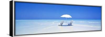 Beach, Ocean, Water, Parasol and Chairs, Maldives--Framed Canvas Print