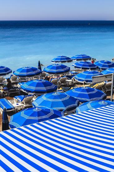 Beach Parasols, Nice, Alpes Maritimes, Provence, Cote D'Azur, French Riviera, France, Europe-Amanda Hall-Photographic Print
