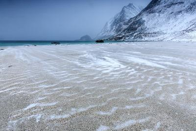 Beach Partially Snowy Surrounded by Mountains-Roberto Moiola-Photographic Print