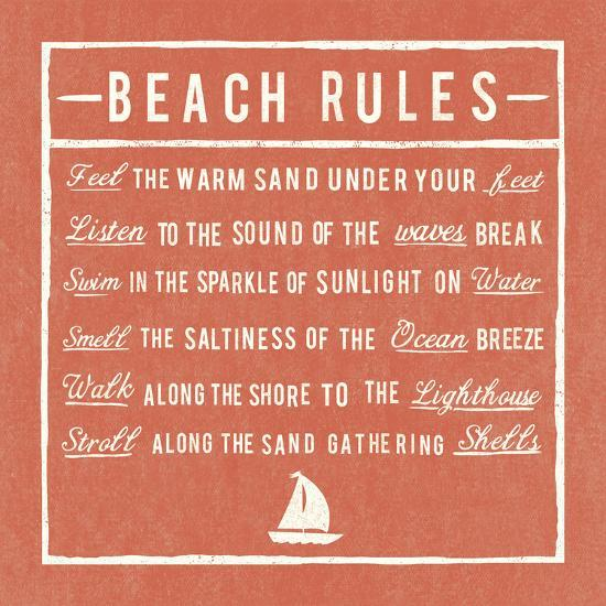 Beach Rules - Coral - Detail-The Vintage Collection-Giclee Print
